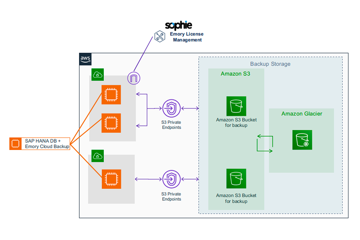 Linke Emory Cloud Backup for SAP HANA | Architecture Diagram