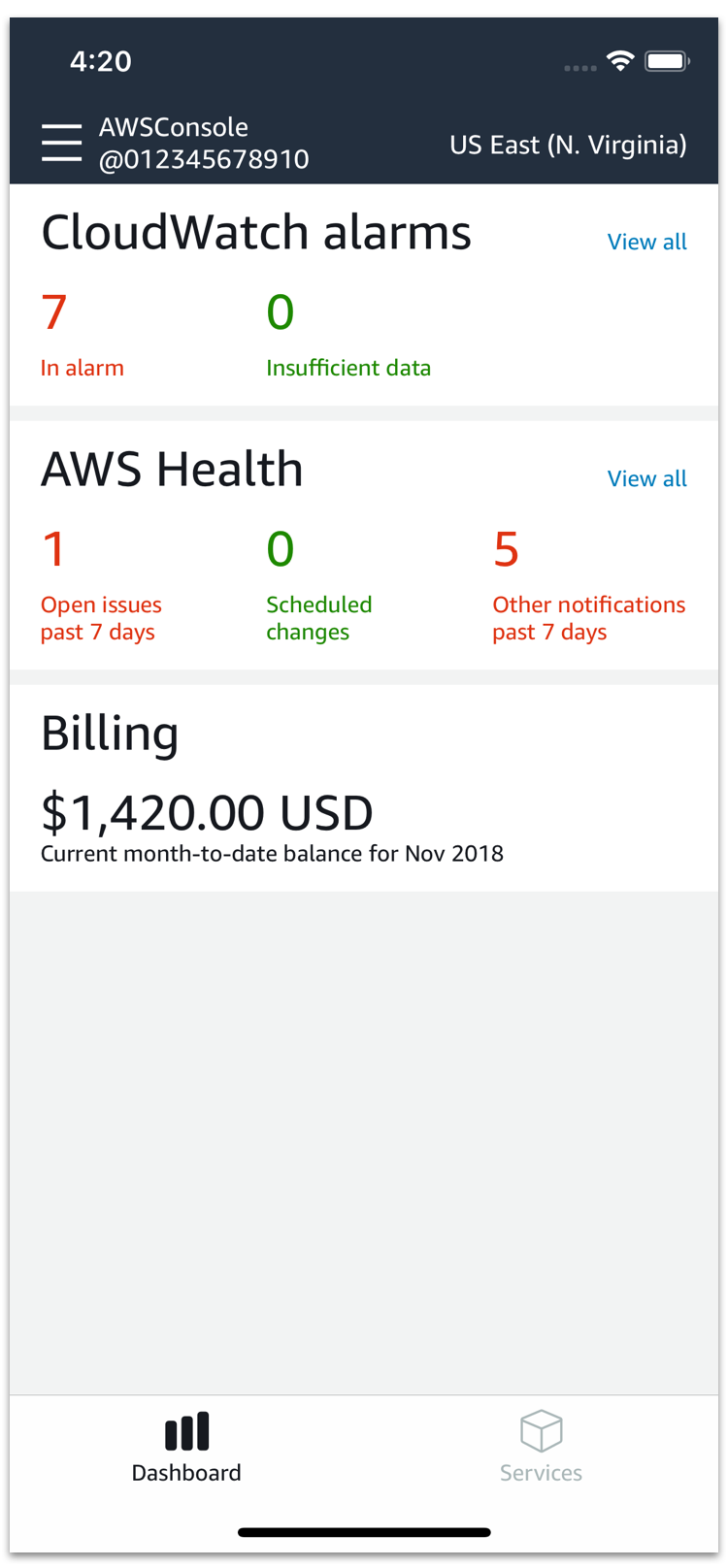 AWS Console Mobile Application