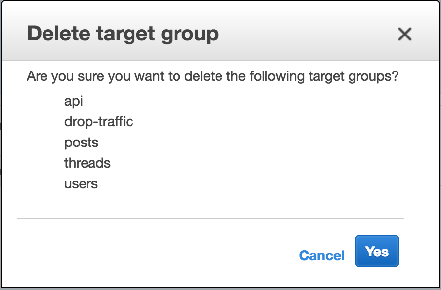 delete target group
