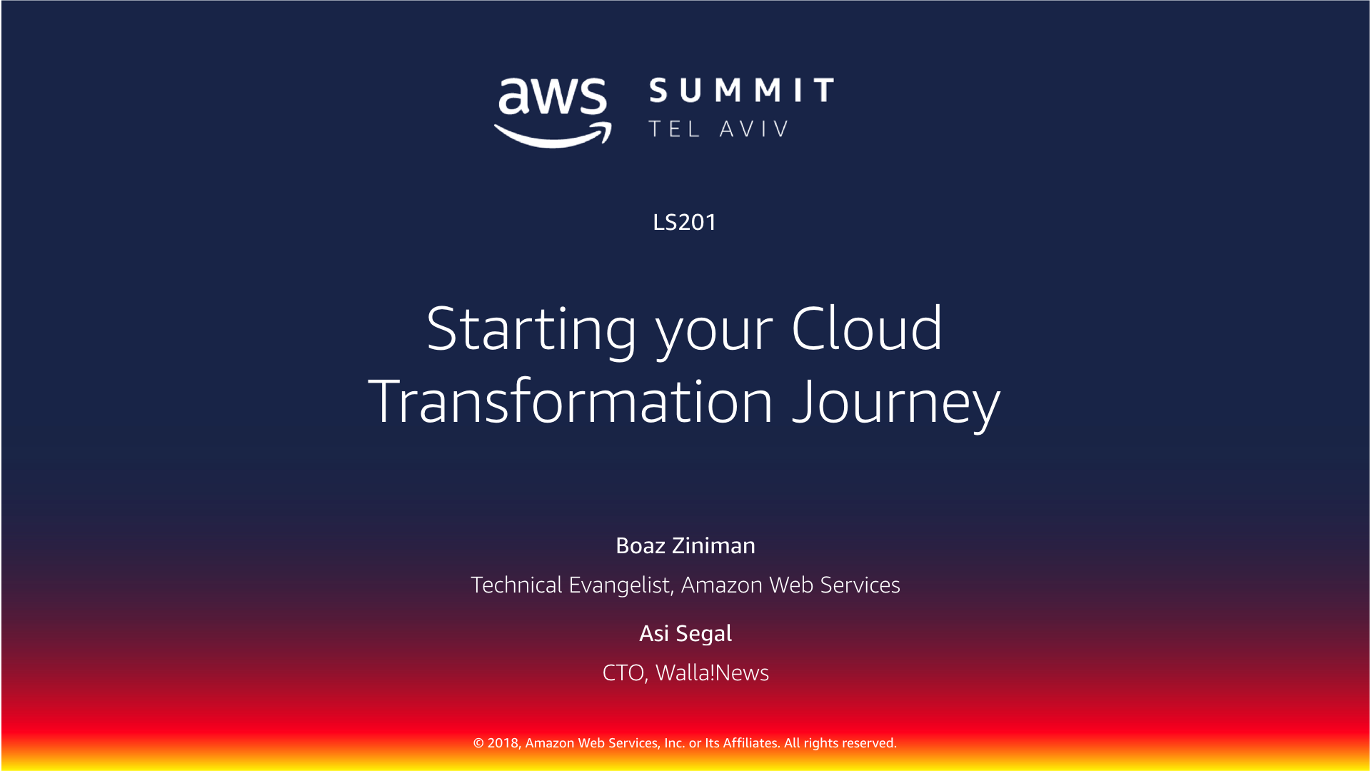Starting your Cloud Transformation Journey - Tel Aviv Summit 2018