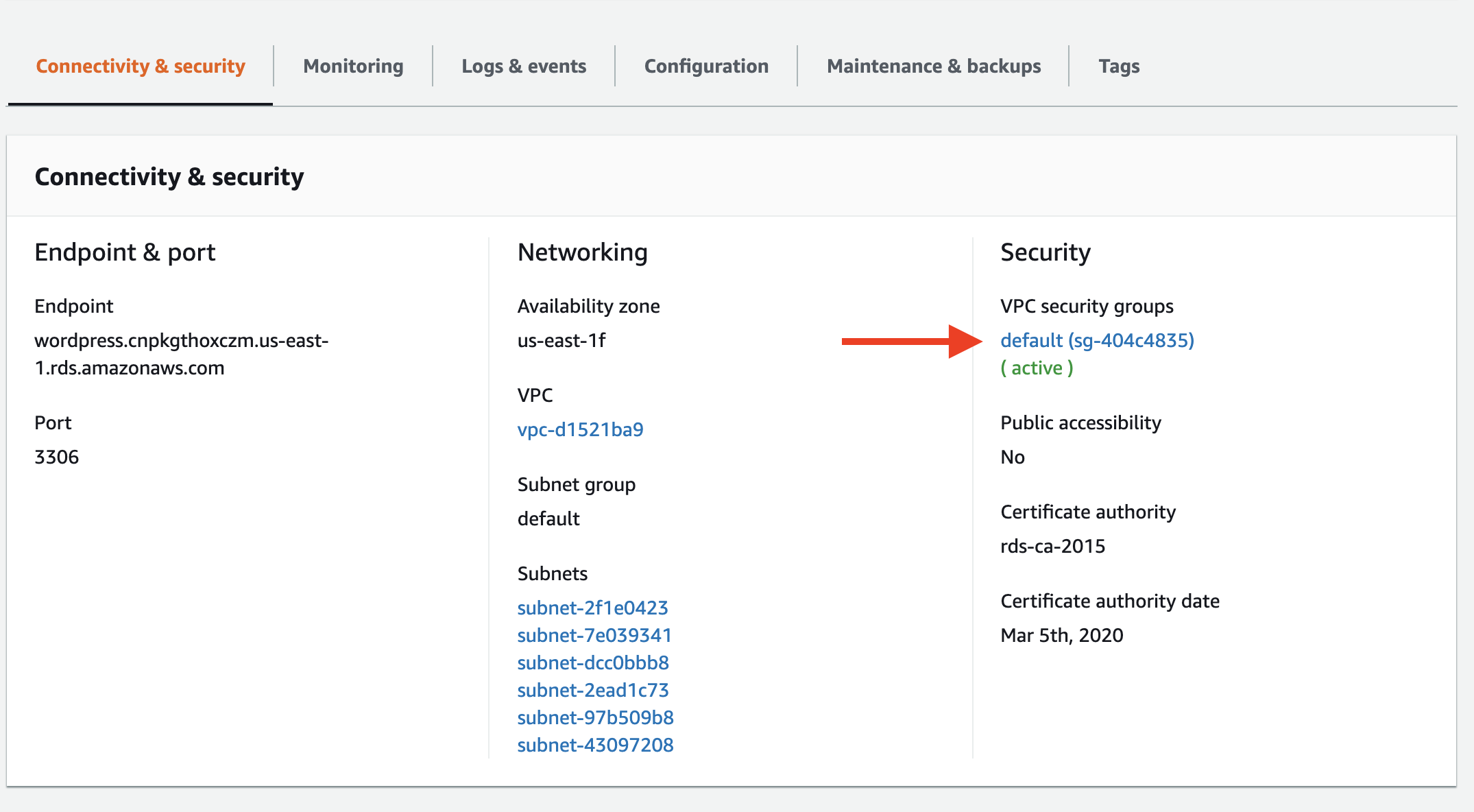 Click on the security group listed in VPC security groups.