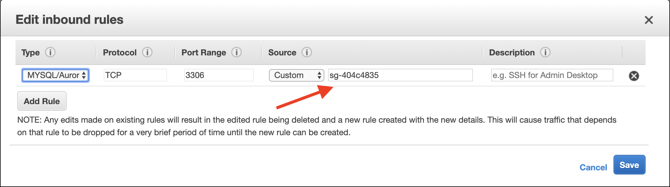 "Then, remove the current security group value configured for the rule, and type ""wordpress"" instead."
