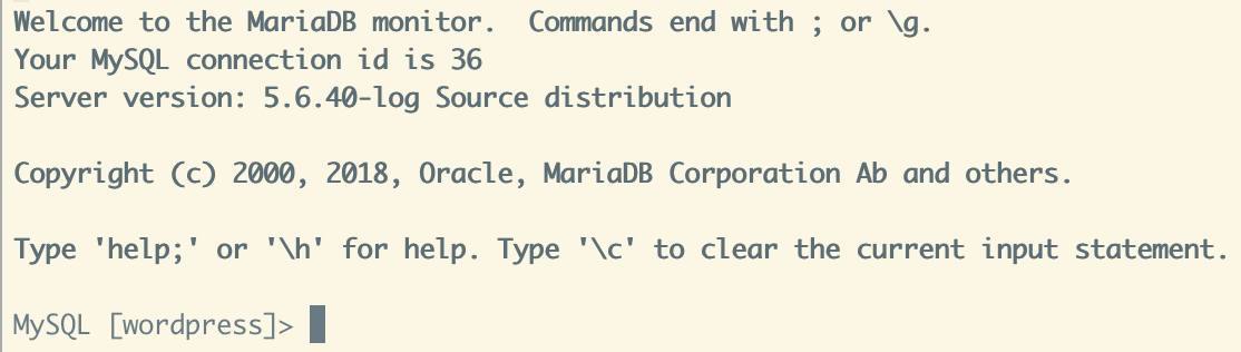 If you connected successfully, your terminal should indicate connection to the MySQL database as shown.