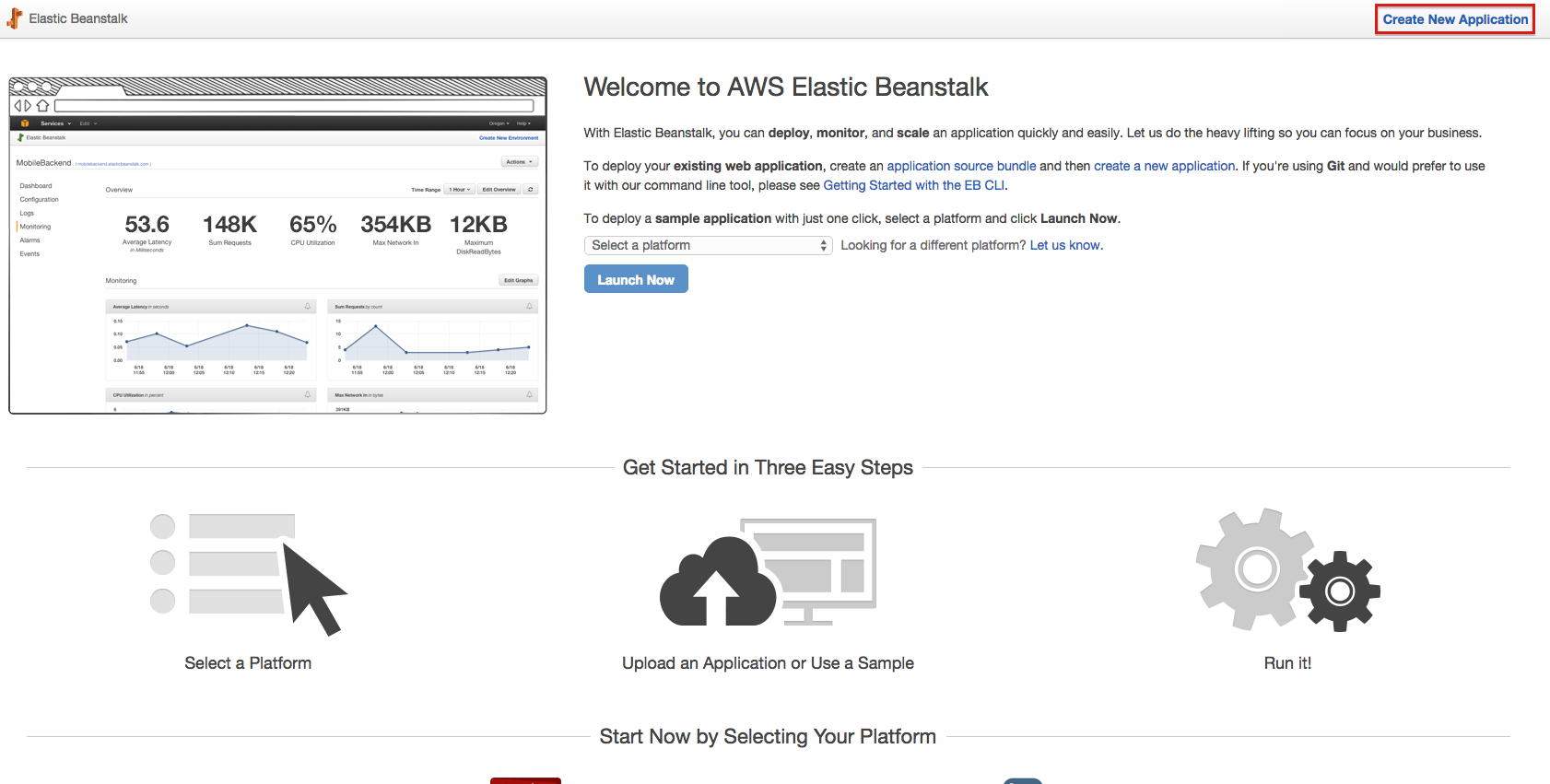 Amazon Elastic Beanstalk Start Screen