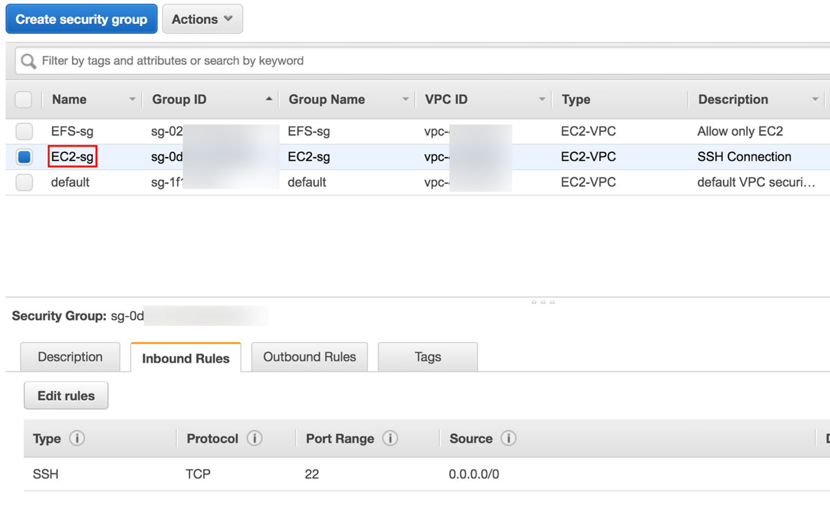 Verify EC2-sg inbound rules