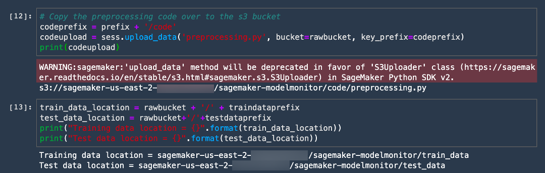 Copy code and specify S3 bucket