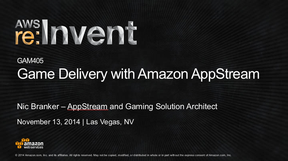 Game Delivery with Amazon AppStream