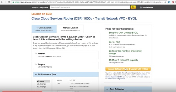 AWS TransitVPC with Cisco CSR1000v