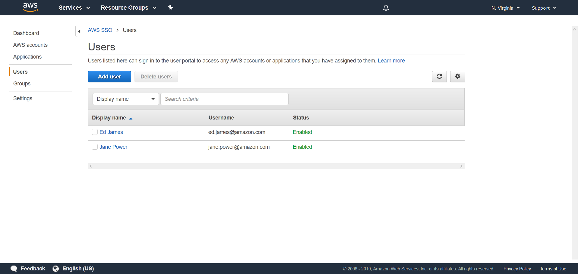 create and manage users in AWS SSO