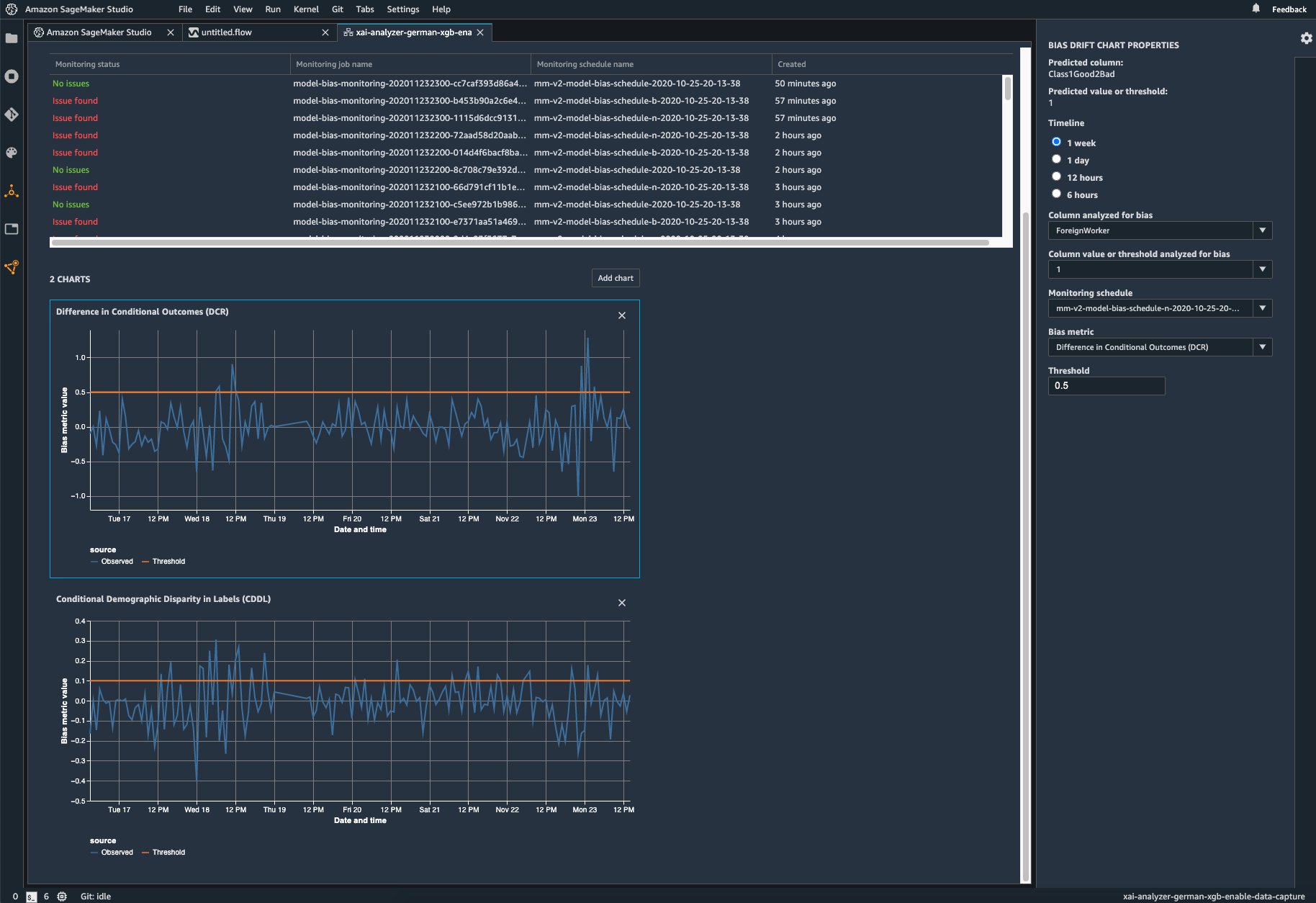 Screenshot of bias monitoring in SageMaker Model Monitor