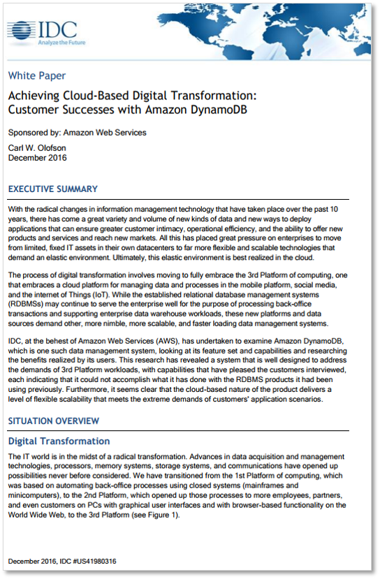 Achieving Cloud-Based Digital Transformation: Customer Success with Amazon DynamoDB