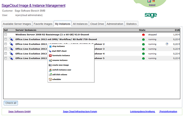 Sage Software GmbH Image Management on the Sage Cloud Services Portal