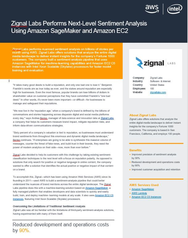 Zignal Labs Performs Next-Level Sentiment Analysis Using Amazon SageMaker and Amazon EC2