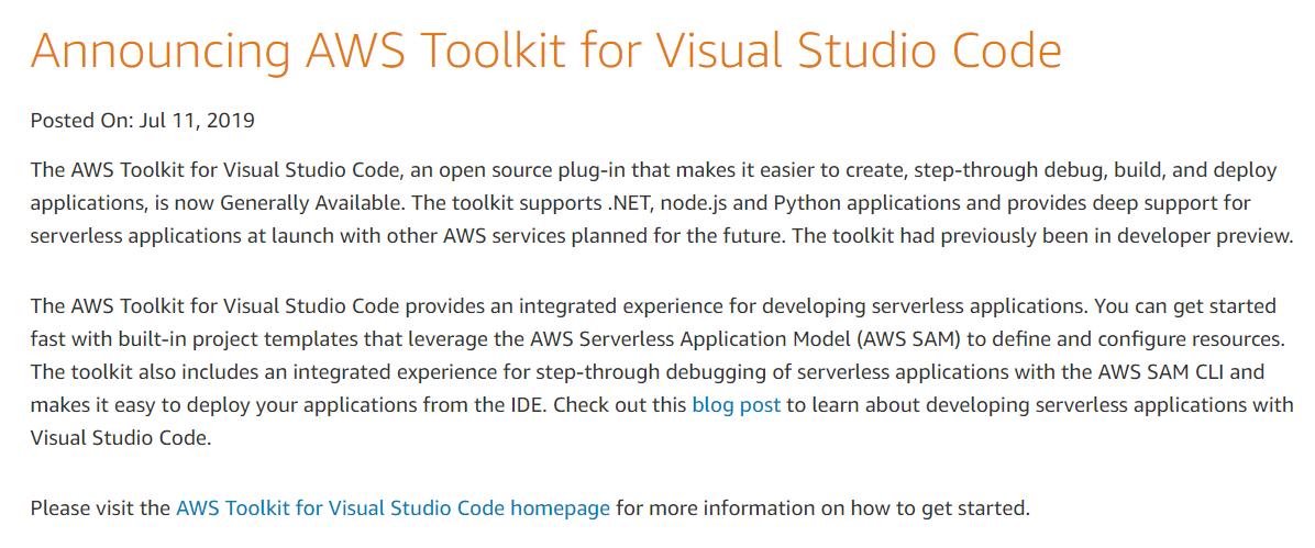 AWS Toolkit for Visual Studio Code