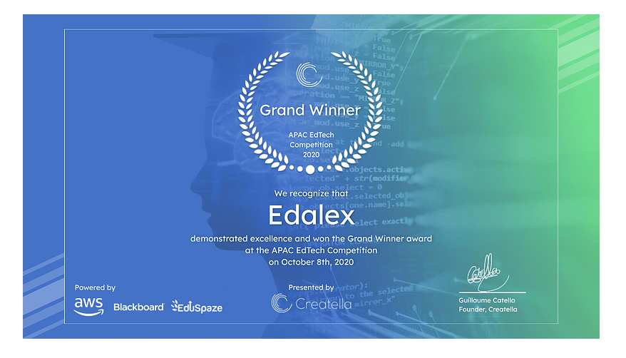 Edalex wins the Future of Education in APAC, EdTech Venture Competition