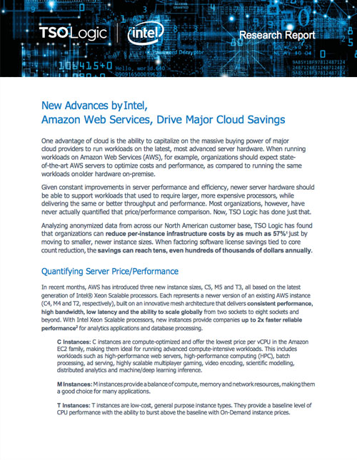 Deliver Cost Savings with AWS and Intel