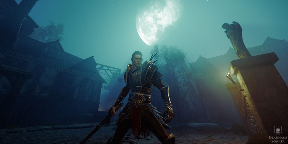 Game character standing in front of a emerald-hued sky
