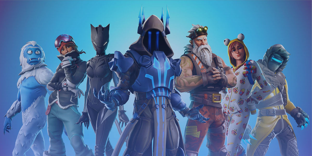 Seven Fortnite characters standing in a row in front of a blue background