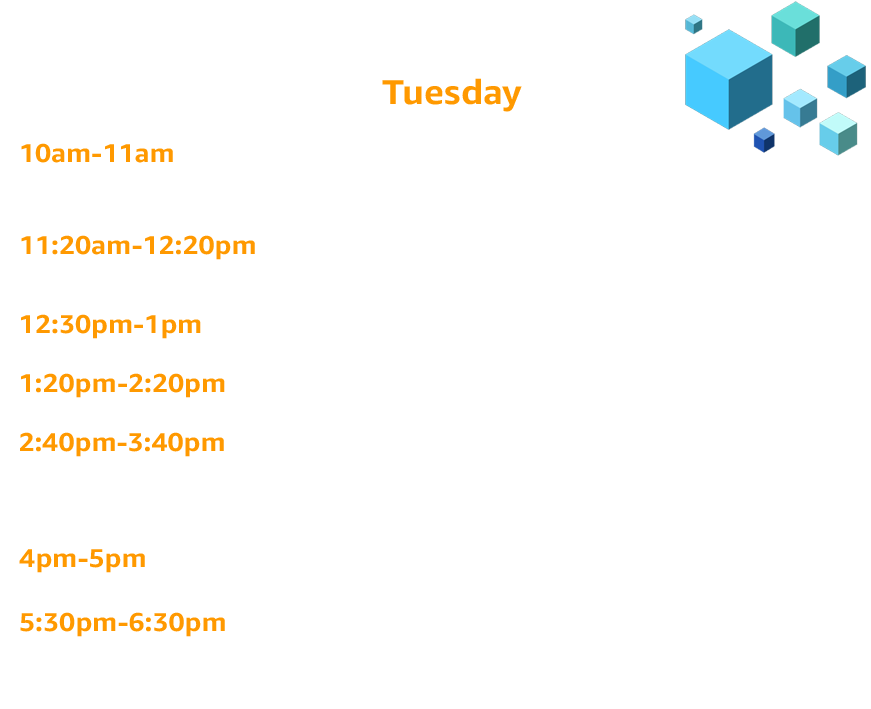 Tuesday Schedule for Dev Day sessions