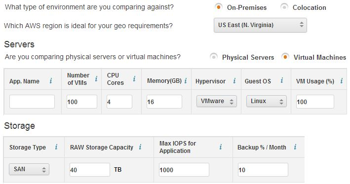 AWS TCO Calculator - input2