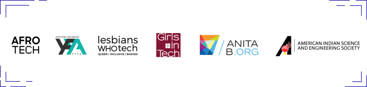 Afro Tech logo, YFYA logo, Lesbians Who Tech logo, Girls in Tech logo, AnitaB.org logo, American Indian Science and Engineering Society logo