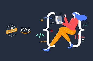 The 'She Builds on AWS' logo graphic.