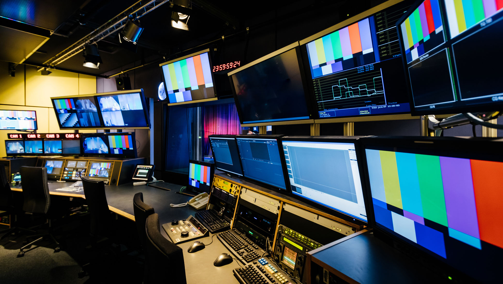 A tv and video control room intended for student use at university.
