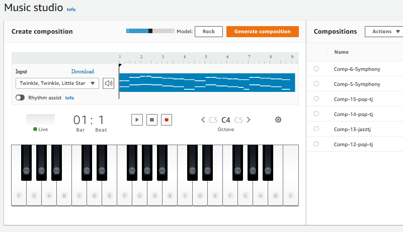 Explore the pre-trained sample models available in the AWS DeepComposer console.