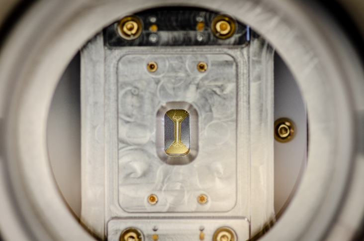 Figure 3. A close-up of an ion trap mounted inside an IonQ QPU