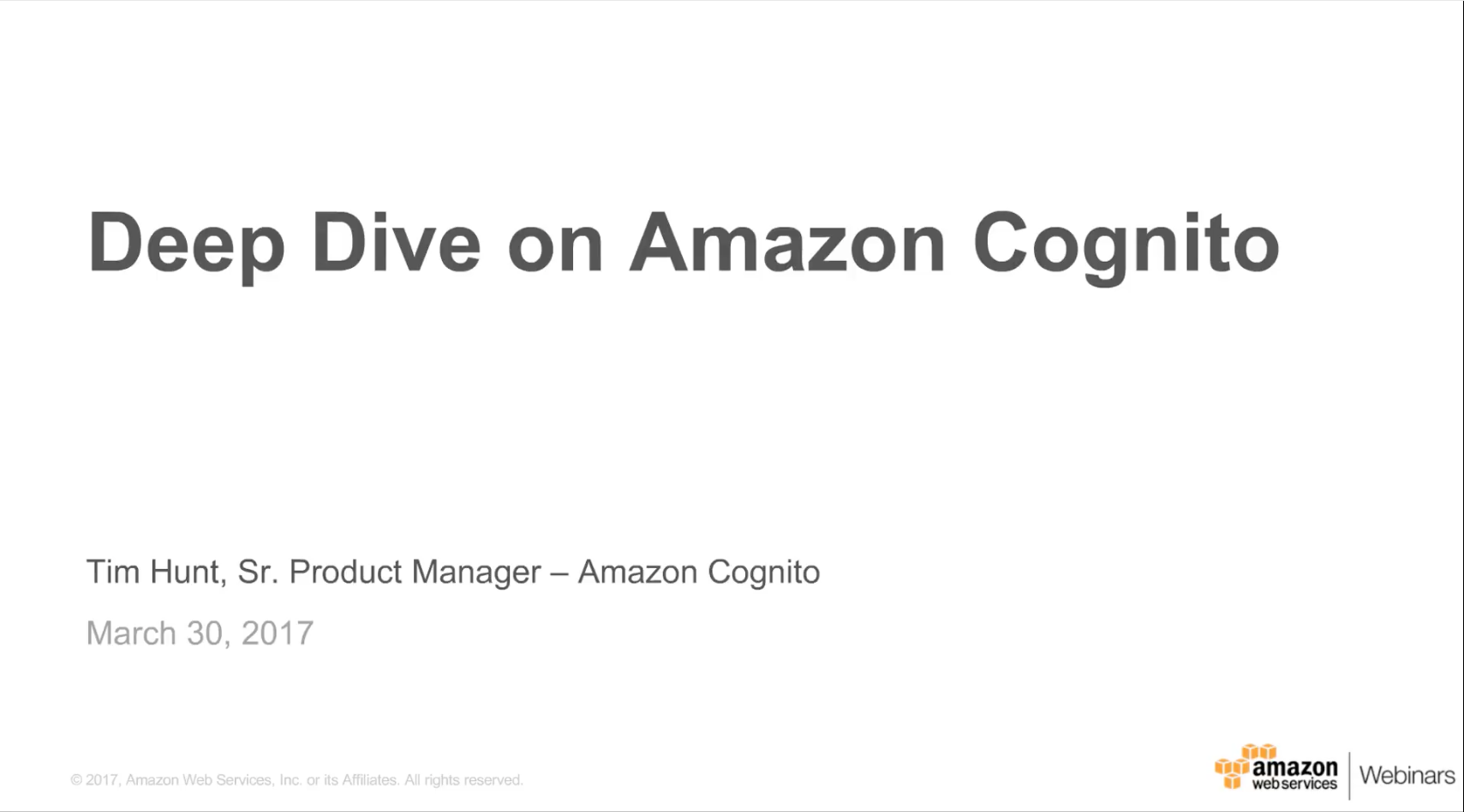 Amazon Cognito Webinar Thumbnail