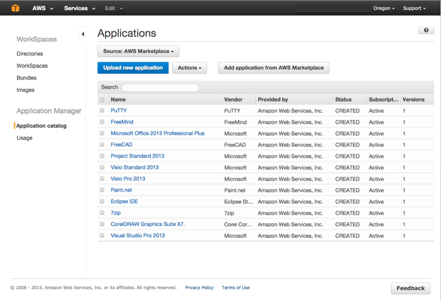 Gérez vos applications dans la console Amazon WorkSpaces