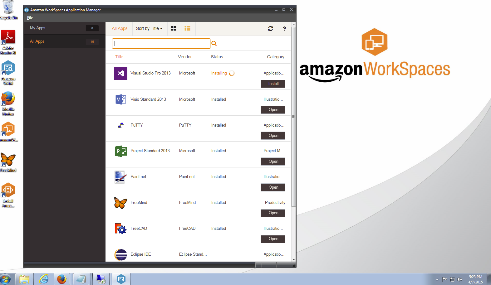 Users can select applications on their Amazon WorkSpace