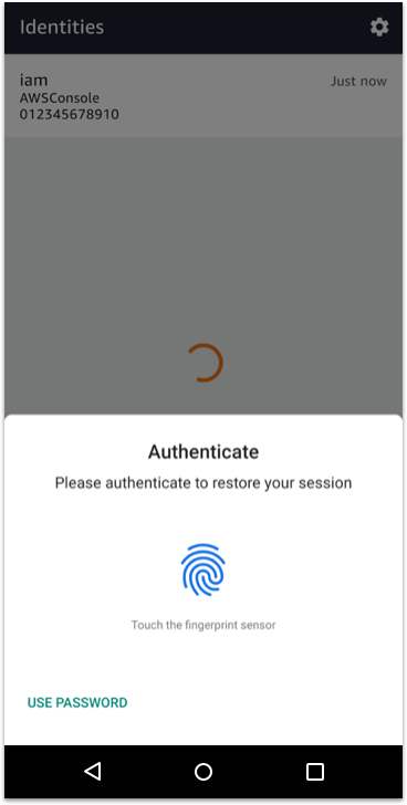 Console Mobile App for Android authentication