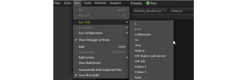 Configuraciones de ejecución