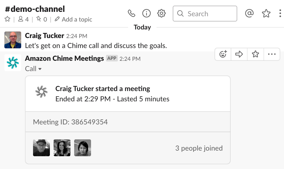 Slack Chime 05 Meeting summary