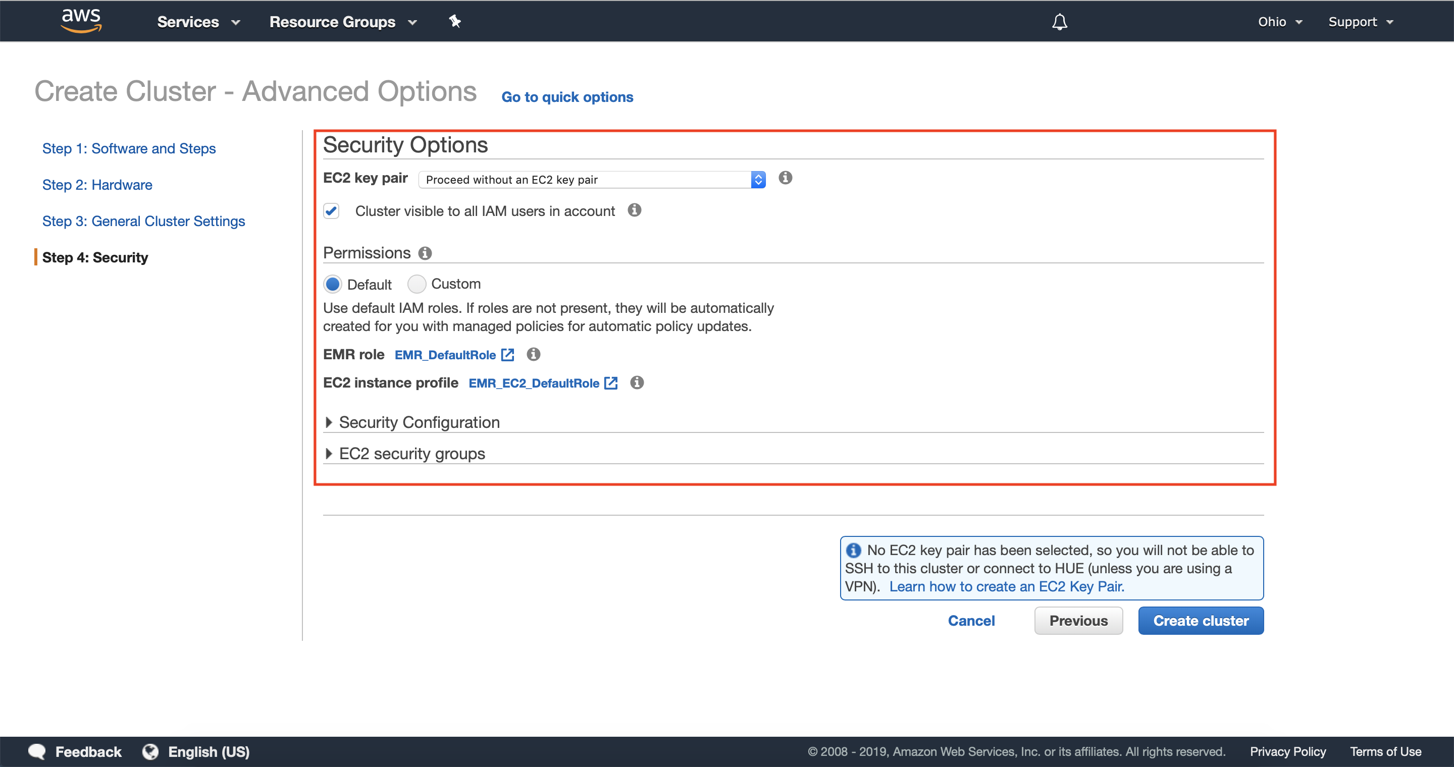Configure security options for your cluster