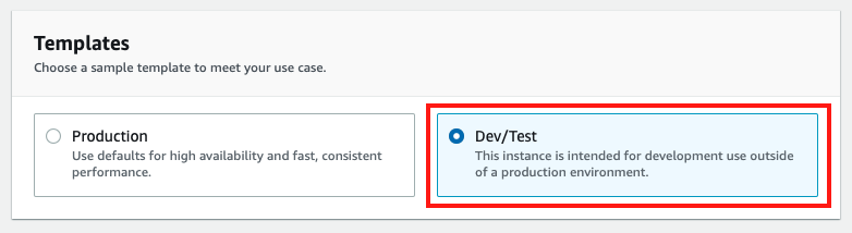 "Choose the ""Dev/Test"" template"
