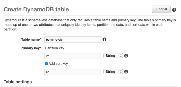 Name your table and specify the primary key