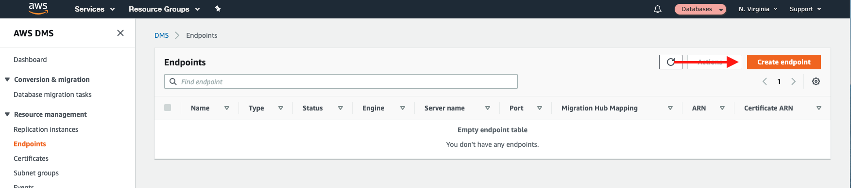 "Choose ""Create endpoint"" to create a new endpoint"