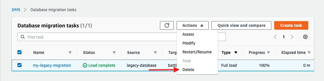 Stop and delete the database migration task to replicate your data