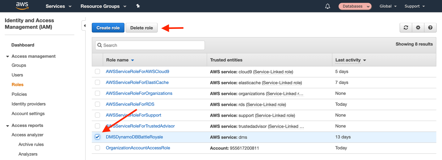 Delete the IAM role and policy that you created for AWS DMS to use in the migration
