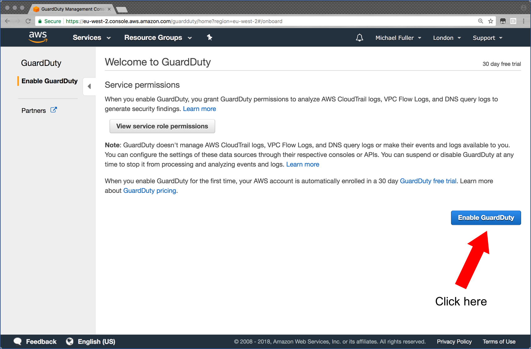 Enable GuardDuty page showing the Enable button