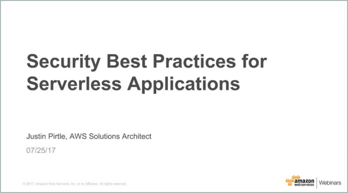 Security Best Practices Serverless Apps