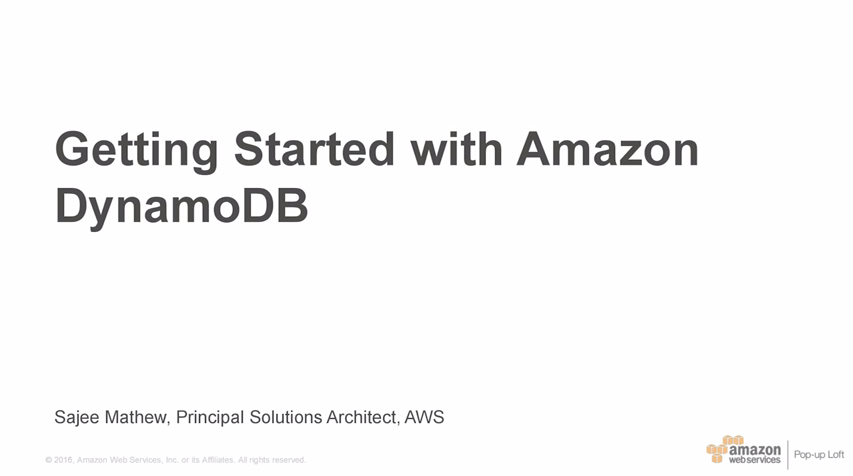 Getting Started with Amazon DynamoDB - April 2016 - NY Loft